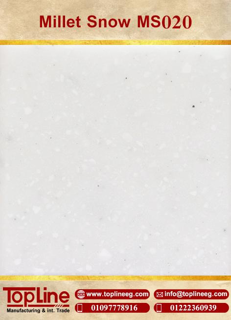 عينات كوريان من شركة توب لاين corian Samples from topline Millet Snow MS020
